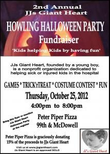 jjs giant heart howling halloween party fundraiser peter piper pizza avondale az - Halloween Fundraiser Ideas
