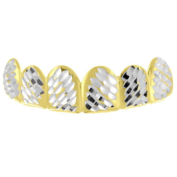 Diamond Cut Grillz Yellow Gold Finish Top