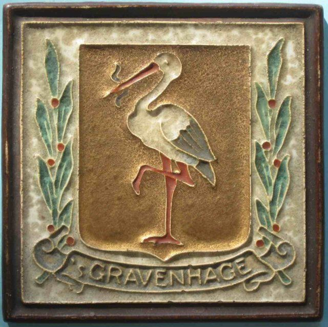 From The Netherlands' most famous delft factory founded in 1635 comes this cloisonne tile depicting the heraldic shield for the city of Gravenhage (The Hague). The tile is beautifully finished in mottled...