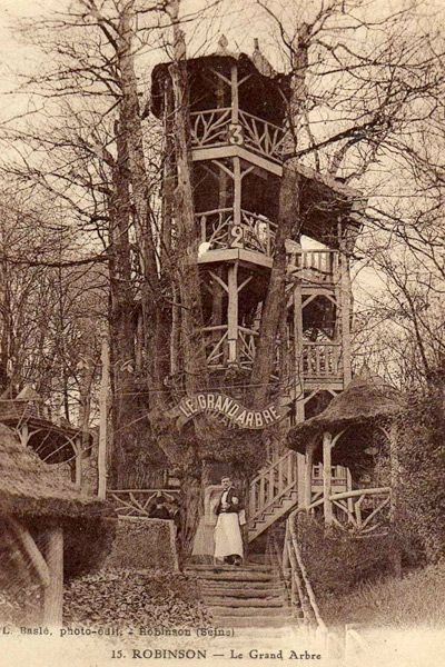 Le Plessis-Robinson Guinette - a popular drinking, eating and drinking establishment - was established in southwest Paris in 1848 and consisted of a suite of interconnected tree houses. It was named Le Grand Robinson after the tree house in the novel Swiss Family Robinson.