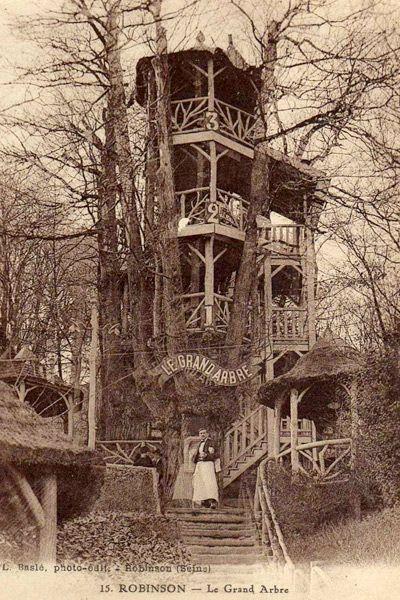 Le Grand Robinson, guinguette du Plessis-Robinson, 1848, constructions dans les arbres, rocaille ciment