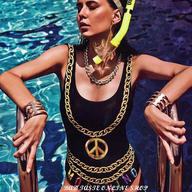 Italy Luxury Brand Designer Multicolored Logo & Metal Chain Jewel Print Swimsuit Women Shoulder Straps Lycra One Piece Beachwear US $99.00 CLICK LINK TO BUY THE PRODUCT  http://goo.gl/oYWEYs