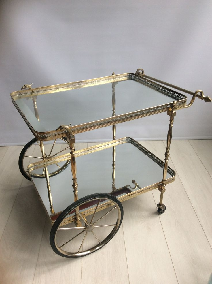 Decorative French Brass Drinks Trolley Cart 1950s