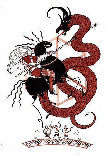 Перун — громовержец, змееборец, главный бог пантеона славянских богов. Перун в схватке с Велесом.