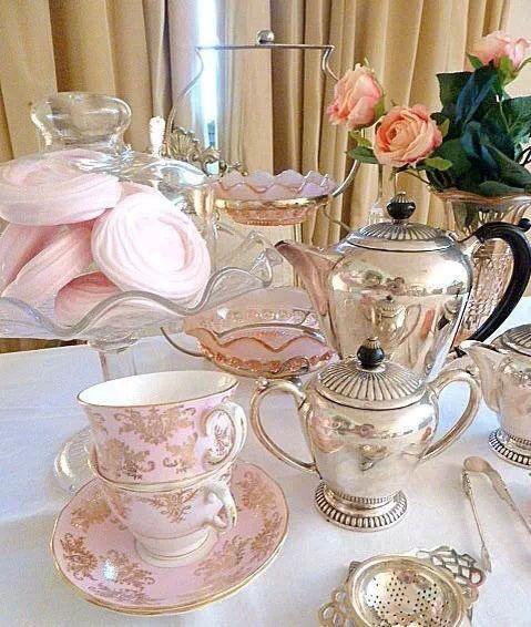 ...beautiful china, silver tea set, pink depression glass...