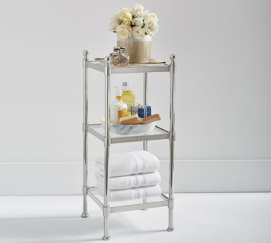 Metal Etagere Small Polished Nickel Finish Metals Toilet Room And Kids Bath