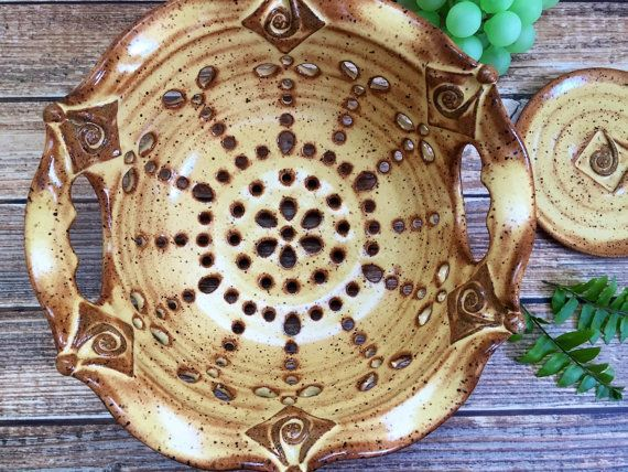 Ceramic Colander with Cutout Handles or Berry by MyMothersGarden