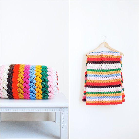Vintage Knit Blanket  Folk Hipster Crochet Afghan by MillayVintage, $40.00