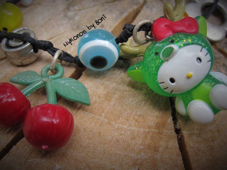 Hello Kitty Reindeer kawaii  bracelet by MykonosByBoni on Etsy