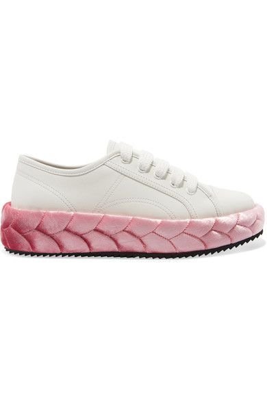 Marco De Vincenzo - Leather And Quilted Velvet Sneakers - Pink