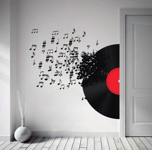 Wall decal of music notes coming from a record