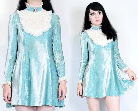 Vtg 60s Sky Blue Velvet Lace Victorian Bib Tuxedo Babydoll Mod Skater Mini Dress XS