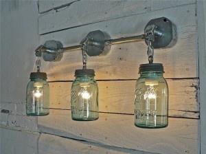 mason jars!Blue Mason Jars, Ball Jars, Lights Fixtures, Light Fixtures, Blue Green, Bathroom, Lights Ideas, Jar Lights, Mason Jars Lights