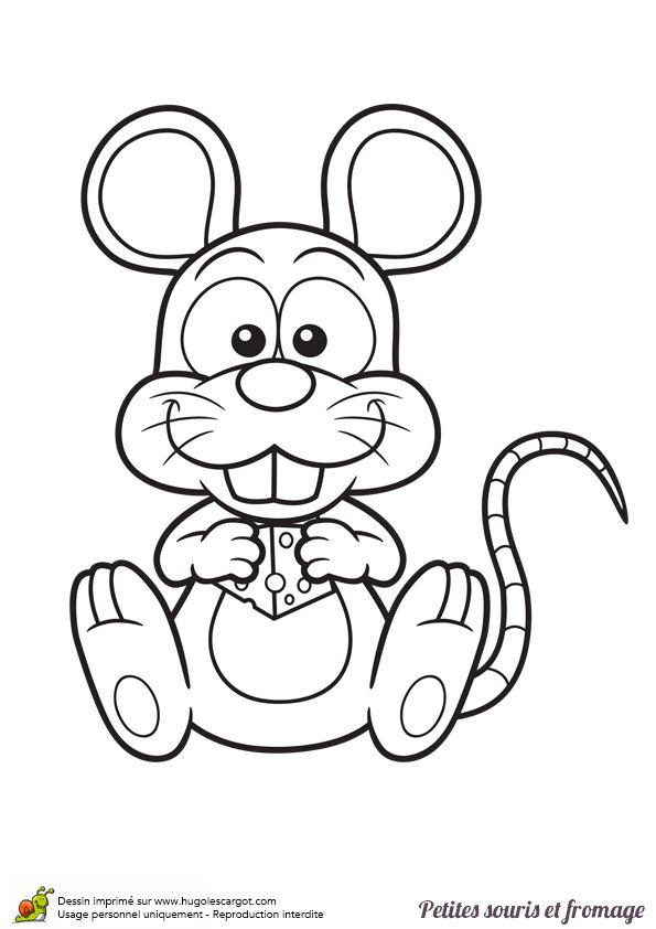 Petite souris mangeant du fromage avec ses grandes dents - Coloriage petite souris ...