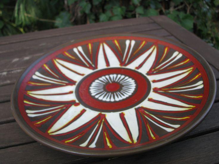 Vintage 1950s 1960s Plate Bowl – von der Trenck Kellinghusen Fayence – West German Pottery – Mid Century Modernist – Ethno Style von everglaze auf Etsy