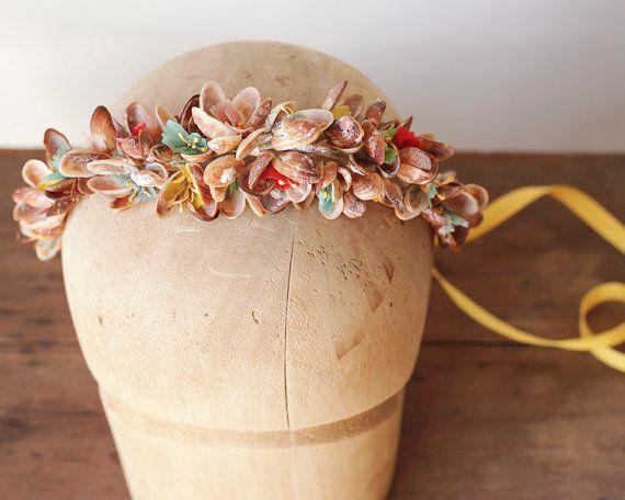Vintage Bridal Tiara - Shell Flower Crown, Bohemian Beach Wedding Headband