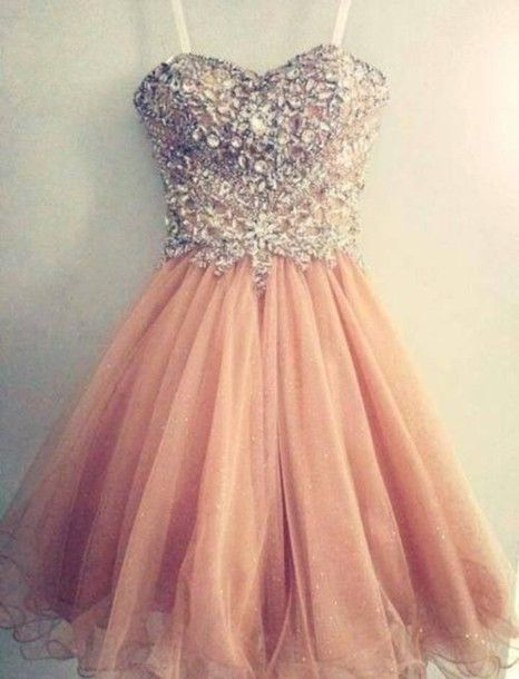 Sweetheart beading Short Knee-length Peach Prom Dress Homecoming Dress Custom…