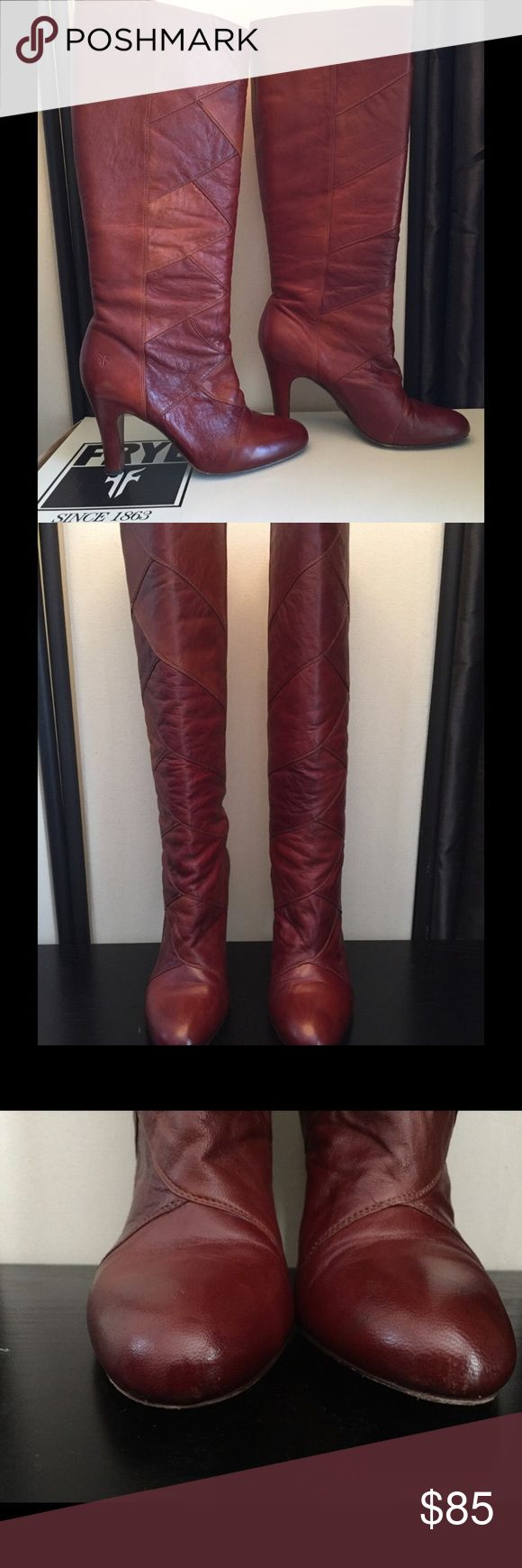 """FRYE boots Ava tall heel patch leather in cognac Ava tall leather patch FRYE boot with 3 1/2 inch heel. Shaft measures approximately 15"""". Small marks on heels from wear, refer to picture, very small.  Original box included. Frye Shoes Heeled Boots"""