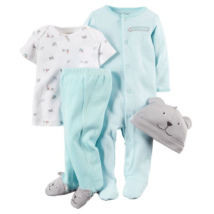 Carter's dog 4 piece Cuddle Me set includes a sleep gown that converts to a sleep and play, a bib, a pair of socks and a knit hat. Description from boscovs.com. I searched for this on bing.com/images