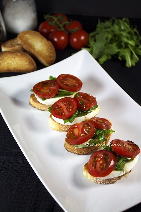 Tomato Mozzarella & Arugula Crostini: The only tomato mozzarella appetizer you 'll need. @Little Cooking Tips
