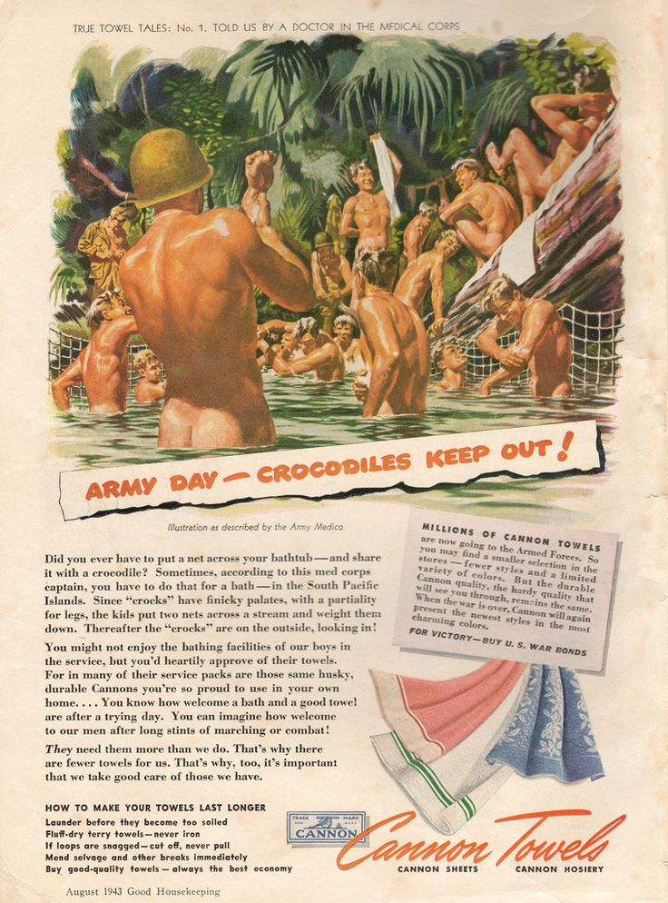 """1943 - """"Army Day - Crocodiles Keep Out!"""" - Cannon Towels Ad [possible NSFW]"""