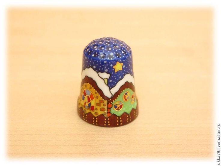 """Купить Наперсток """"Волшебная зима"""" (фарфор, подарок, сувенир) - наперсток, зима, зимний, домики, новогодний"""