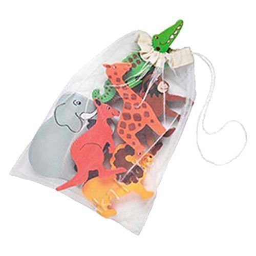 Chunky and colourful bag of wooden safari animals in a bag, fair trade from www.knotjustjigs.co.uk