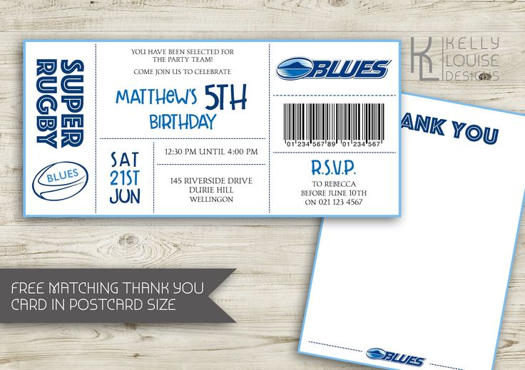 Auckland Blues Birthday Invitation | Rugby Birthday Party | New Zealand Rugby | Super Rugby Party | Rugby Ticket Invitation | NZ Rugby (162) by kellylouisedesigns on Etsy