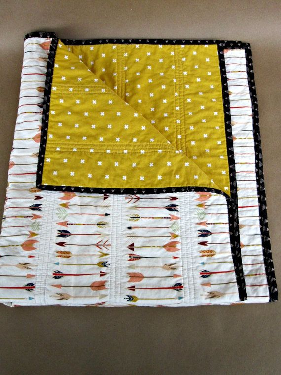 READY TO SHIP, Modern Quilt, Baby Quilt, Baby Blanket, Whole Cloth Quilt, Arrows, Crosses, Gender Neutral