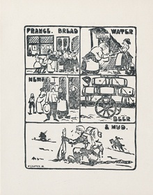 """The Strafer. Godalming: Graddock, printer, [1917–191–]. Only four issues of the journal were published, the first three of which were printed in Godalming, a small market town in Surrey near the Canadian training areas. The irreverence of some of the humour is demonstrated in a line from the first issue: 'The tailor that pegged The Sergeant-Major's breeches must have been the composer of """"They're wearing them higher in Hawaii!""""'"""