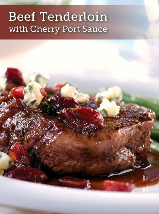 Beef Tenderloin with Cherry Port Sauce & Gorgonzola –  in just 30 minutes, you can impress your dinner guests with these pan-sautéed filets, served with a savory dried cherry pan sauce. Serve this recipe at a holiday party and your guests are sure to ask for seconds!