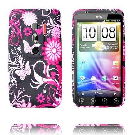 Symphony (Pinkit Perhoset - Musta) HTC Evo 3D Silikonisuojus