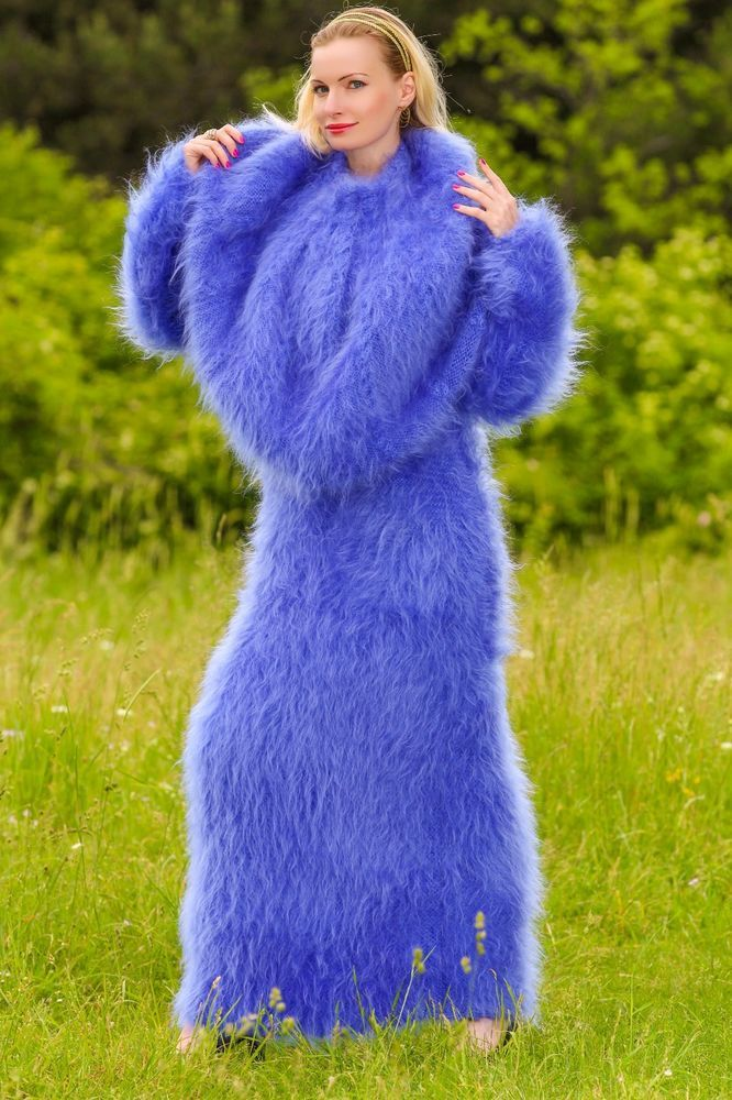 BLUE Hand Knitted Mohair Sweater Fuzzy Dress and Pelerine Cape SUPERTANYA S M L #SUPERTANYA #CowlNeck