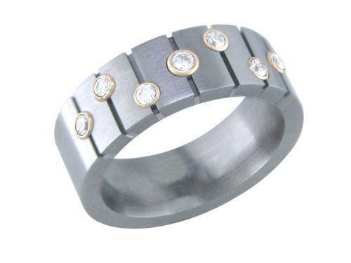 http://womendesires.getauniquegift.com/pinnable-post/questa-mens-titanium-ring-with-diamonds-and-gold-collets-size-4-00/ All titanium bands are customizable. Stone shape, stone color and size can all be customized with limitations. Width, height and color of metal can also be customized upon request. Don't hesitate if you have any questions whatsoever!  CALL US TOLL FREE 1-877-847-4647