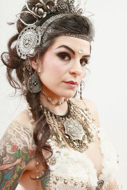 Model: Sushila,   Headdress: Sushila,  Apsara Maiden.  Photo: Christopher Mark Perez