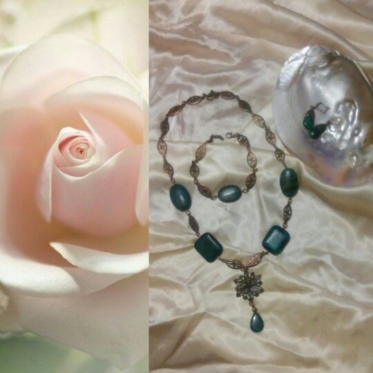 Crissocolla and copper necklace