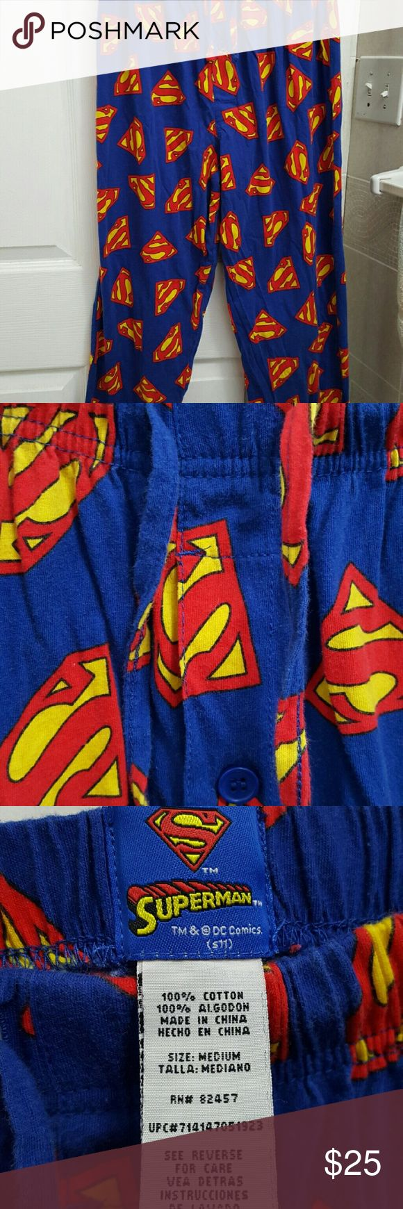 NWOT Superman lightweight loung/sleeping pants Brand new, never worn , tags were been removed.  Bought for husband but he never never wore them , Just sat in his drawer so I'm sell them I would wear them but they are just way too big on me. These are mens but can be worn by women also. Does have button fly access and waist drawstrings.  marvel comics Pants