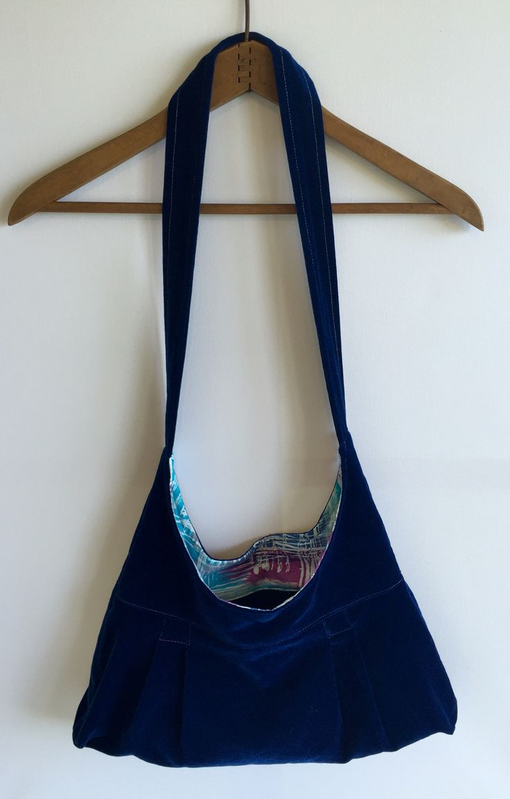 Handmade handbag. Blue velvet with vintage purple and blue hash fabric.