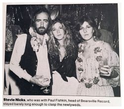 Stevie ~ ☆♥❤♥☆ ~ at John McVie's low-key wedding in 1978; Stevie is in between John and his second wife, Julie Ann Rubens who was his secretary; Stevie's beau at the time was Paul Fishkin, not seen in this photo; he was the head of Bearsville Records ~ https://en.wikipedia.org/wiki/John_McVie ~ http://www.people.com/people/archive/article/0,,20075145,00.html