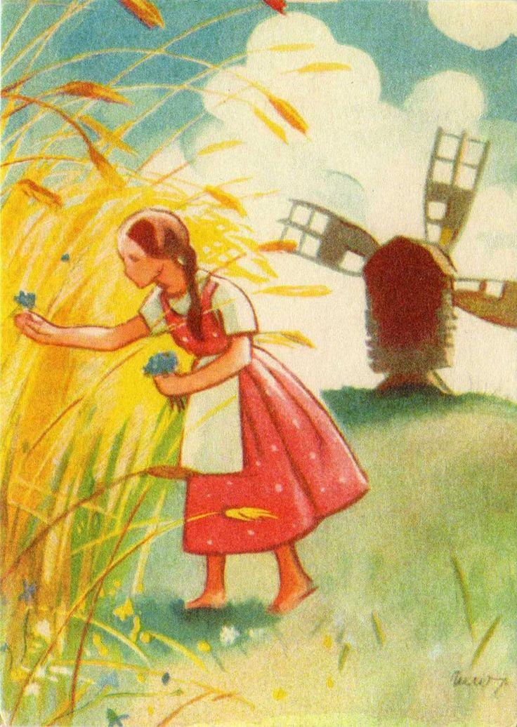 : Golden fields and cornflowers by Martta Wendelin (1893-1986)