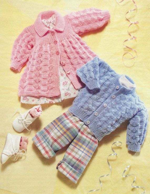 Vintage Pattern - Cardigan and Matinee Jacket Sweater Knit retro pattern baby clothes girl boy vintage aran jumper pdf instant download easy