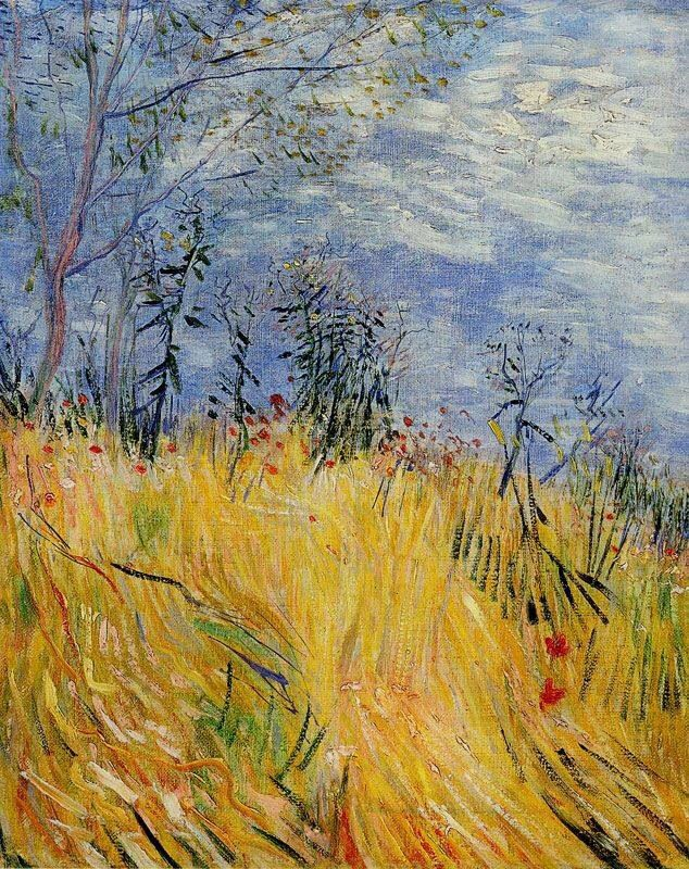 """""""Edge of a Wheatfield with Poppies,"""" Vincent van Gogh (1887). The lovely, natural lines where the grasses meet the sky is just beautiful, as is the natural color palette ..."""