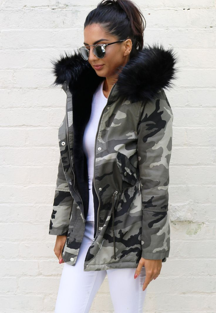 Milly Faux Fur Trim & Lined Hooded Parka in Camo Print with Black - One Nation Clothing - One Nation Clothing - 1