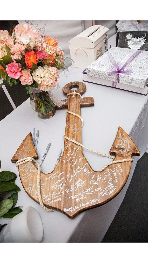 56 best nautical wedding theme images on pinterest nautical wood anchor guest book via decorate for beach wedding ideas from emmalinebride junglespirit Image collections