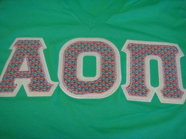 alpha omicron pi letters made with vineyard vines fabric