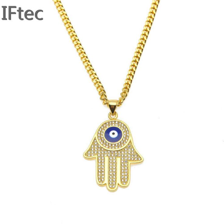 Iftec Hot Fatima Hamsa Hand Classic Necklace Blue Evil Eye Pendant For Men And Women Hip Hop Fashion Pure Gold Color Cz Design
