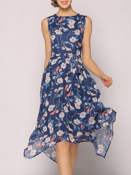 Sleeveless Bateau/boat Neck Asymmetric Elegant Asymmetrical Midi Dress
