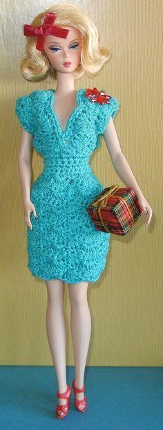 Crochet pattern (PDF) for Silkstone Barbie - Retro Christmas cocktail dress