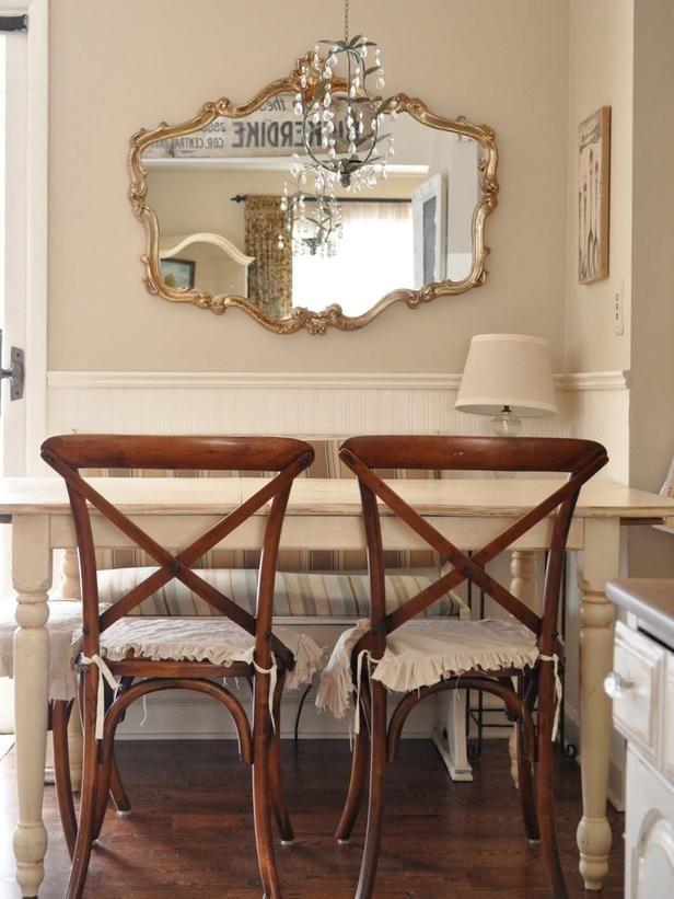 Dining Room-nuetral walls, wainscoting, chandelier, glorious mirror, paint table almond white, leave your chairs wood