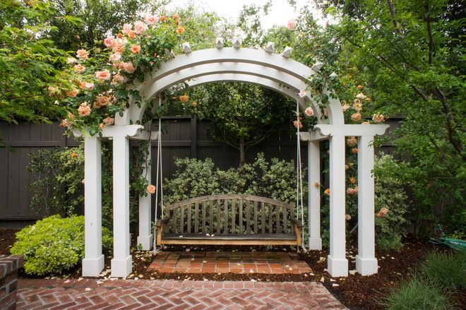 Replace the pergola with this design and add the porch swing for Mark